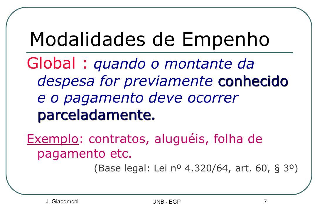 J.Giacomoni UNB - EGP 7 Modalidades de Empenho conhecido parceladamente.