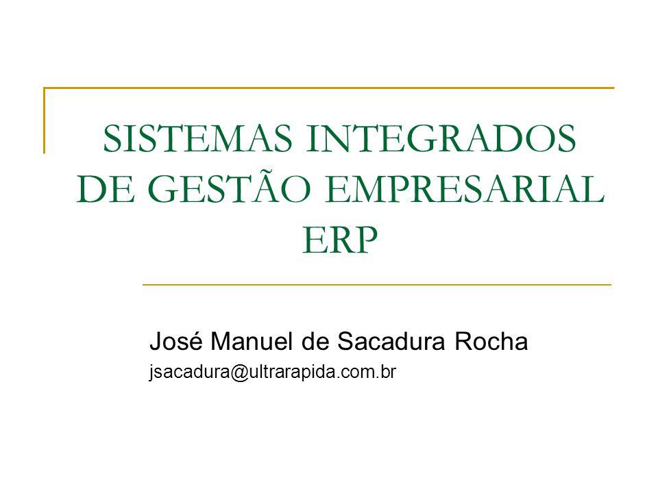 SISTEMAS INTEGRADOS DE GESTÃO EMPRESARIAL ERP José Manuel de Sacadura Rocha jsacadura@ultrarapida.com.br