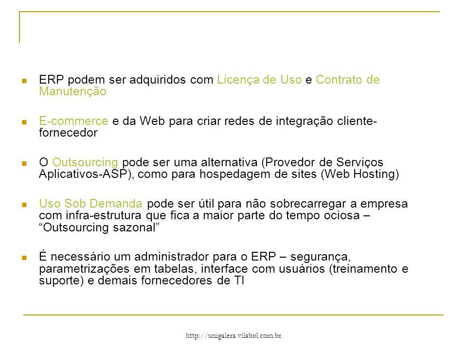 http://unigalera.vilabol.com.br ERP podem ser adquiridos com Licença de Uso e Contrato de Manutenção E-commerce e da Web para criar redes de integração cliente- fornecedor O Outsourcing pode ser uma alternativa (Provedor de Serviços Aplicativos-ASP), como para hospedagem de sites (Web Hosting) Uso Sob Demanda pode ser útil para não sobrecarregar a empresa com infra-estrutura que fica a maior parte do tempo ociosa – Outsourcing sazonal É necessário um administrador para o ERP – segurança, parametrizações em tabelas, interface com usuários (treinamento e suporte) e demais fornecedores de TI