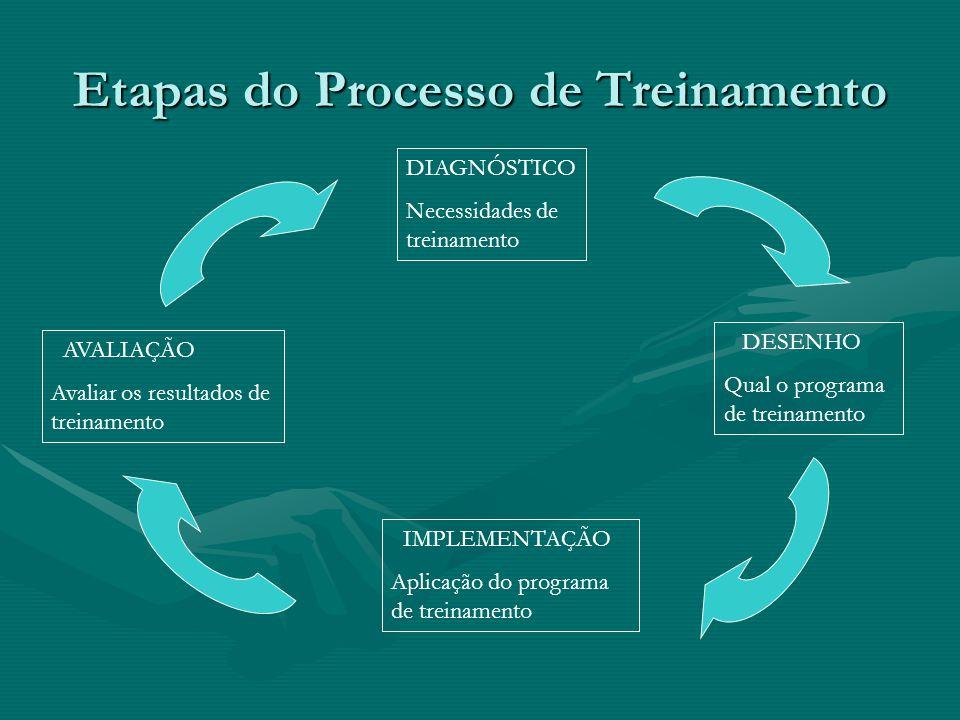 Etapas do Processo de Treinamento DIAGNÓSTICO Necessidades de treinamento AVALIAÇÃO Avaliar os resultados de treinamento IMPLEMENTAÇÃO Aplicação do programa de treinamento DESENHO Qual o programa de treinamento