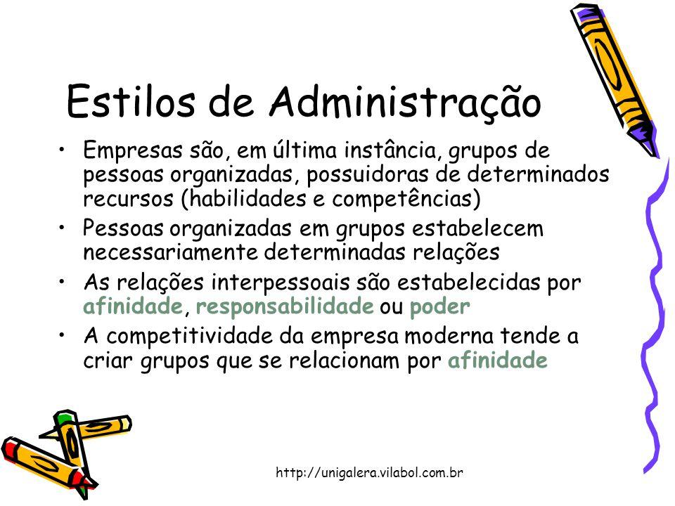 http://unigalera.vilabol.com.br Estilos de Administração Empresas são, em última instância, grupos de pessoas organizadas, possuidoras de determinados