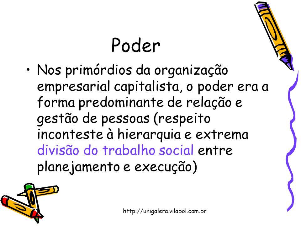 http://unigalera.vilabol.com.br Poder Nos primórdios da organização empresarial capitalista, o poder era a forma predominante de relação e gestão de p