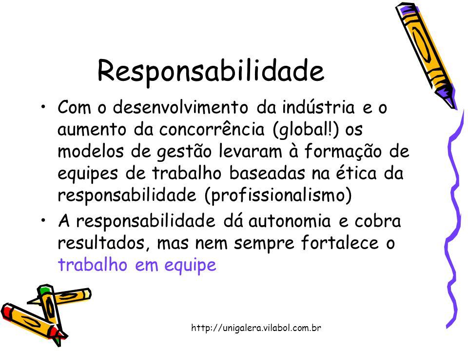 http://unigalera.vilabol.com.br Responsabilidade Com o desenvolvimento da indústria e o aumento da concorrência (global!) os modelos de gestão levaram