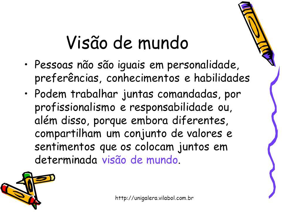 http://unigalera.vilabol.com.br Visão de mundo Pessoas não são iguais em personalidade, preferências, conhecimentos e habilidades Podem trabalhar junt