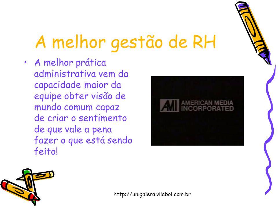 http://unigalera.vilabol.com.br A melhor gestão de RH A melhor prática administrativa vem da capacidade maior da equipe obter visão de mundo comum cap