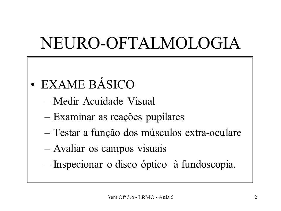 Sem Oft 5.o - LRMO - Aula 62 NEURO-OFTALMOLOGIA EXAME BÁSICO –Medir Acuidade Visual –Examinar as reações pupilares –Testar a função dos músculos extra-oculare –Avaliar os campos visuais –Inspecionar o disco óptico à fundoscopia.