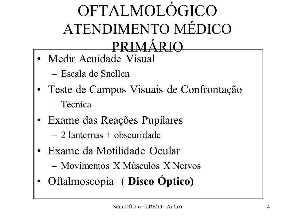 Sem Oft 5.o - LRMO - Aula 64 EXAME NEURO- OFTALMOLÓGICO ATENDIMENTO MÉDICO PRIMÁRIO Medir Acuidade Visual –Escala de Snellen Teste de Campos Visuais de Confrontação –Técnica Exame das Reações Pupilares –2 lanternas + obscuridade Exame da Motilidade Ocular –Movimentos X Músculos X Nervos Oftalmoscopia ( Disco Óptico)