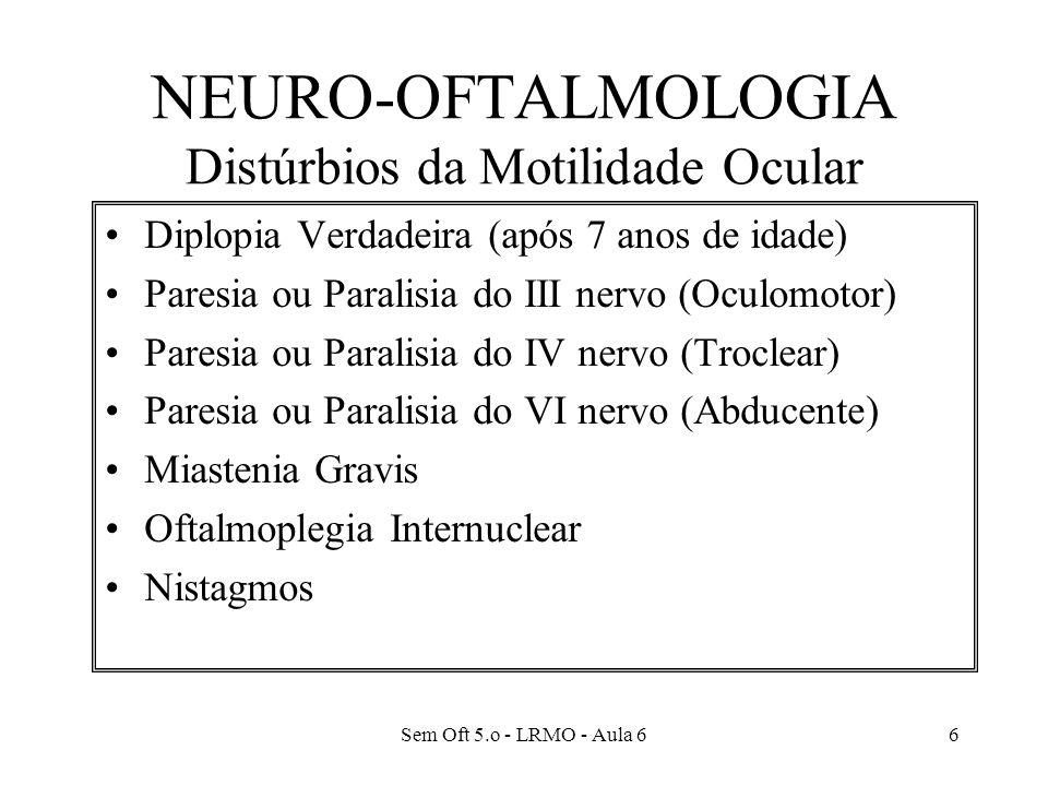 Sem Oft 5.o - LRMO - Aula 66 NEURO-OFTALMOLOGIA Distúrbios da Motilidade Ocular Diplopia Verdadeira (após 7 anos de idade) Paresia ou Paralisia do III nervo (Oculomotor) Paresia ou Paralisia do IV nervo (Troclear) Paresia ou Paralisia do VI nervo (Abducente) Miastenia Gravis Oftalmoplegia Internuclear Nistagmos