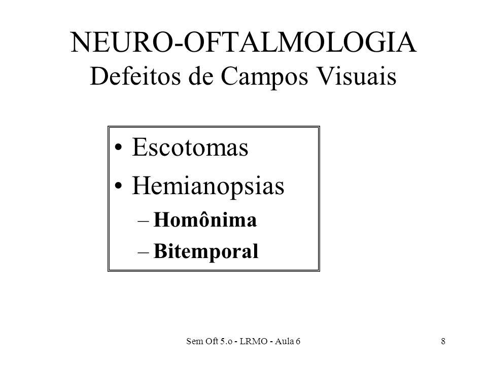 Sem Oft 5.o - LRMO - Aula 68 NEURO-OFTALMOLOGIA Defeitos de Campos Visuais Escotomas Hemianopsias –Homônima –Bitemporal