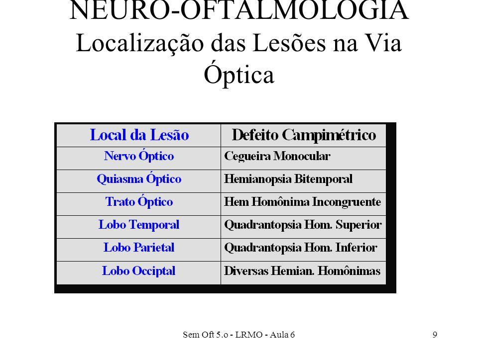 Sem Oft 5.o - LRMO - Aula 69 NEURO-OFTALMOLOGIA Localização das Lesões na Via Óptica