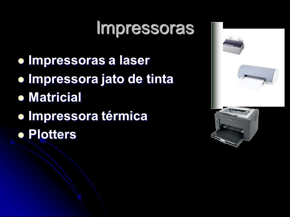 Impressoras Impressoras a laser Impressoras a laser Impressora jato de tinta Impressora jato de tinta Matricial Matricial Impressora térmica Impressor
