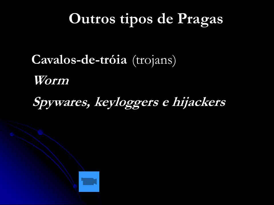 Outros tipos de Pragas Cavalos-de-tróia (trojans) Worm Spywares, keyloggers e hijackers