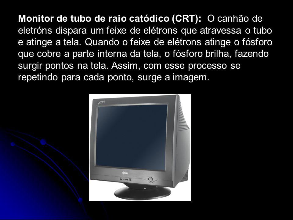 Monitor de tubo de raio catódico (CRT): O canhão de eletróns dispara um feixe de elétrons que atravessa o tubo e atinge a tela. Quando o feixe de elét