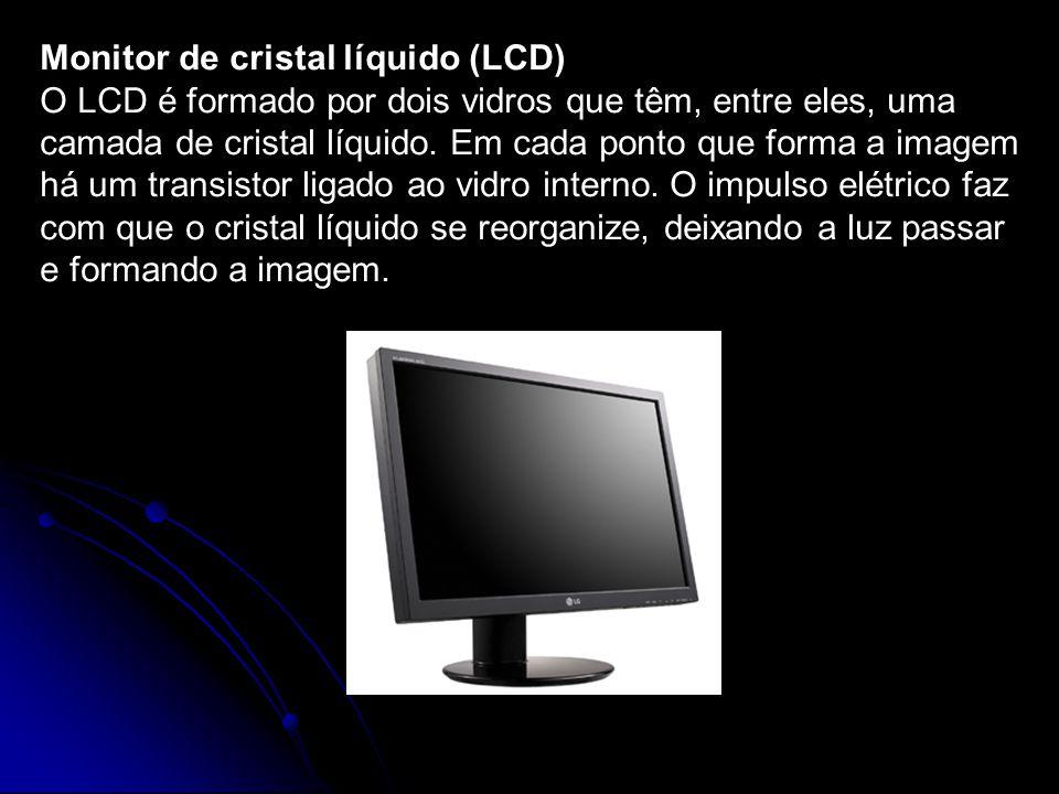 Monitor de cristal líquido (LCD) O LCD é formado por dois vidros que têm, entre eles, uma camada de cristal líquido. Em cada ponto que forma a imagem