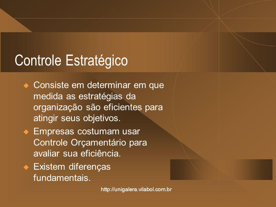 http://unigalera.vilabol.com.br Controle Estratégico Consiste em determinar em que medida as estratégias da organização são eficientes para atingir seus objetivos.