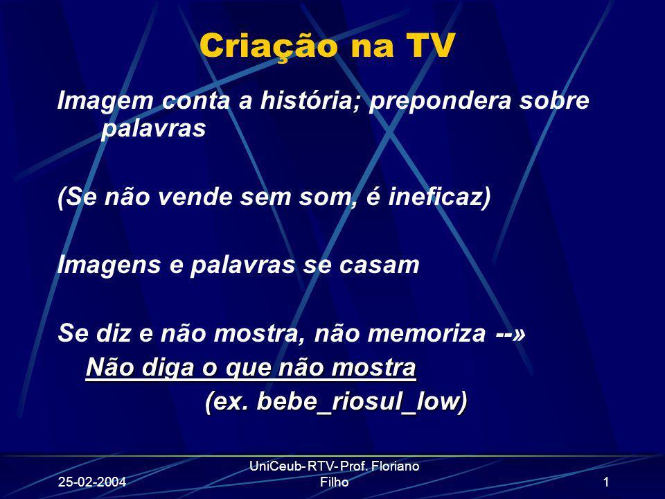 25-02-2004 UniCeub- RTV- Prof. Floriano Filho1 Criação na TV Imagem conta a história; prepondera sobre palavras (Se não vende sem som, é ineficaz) Ima