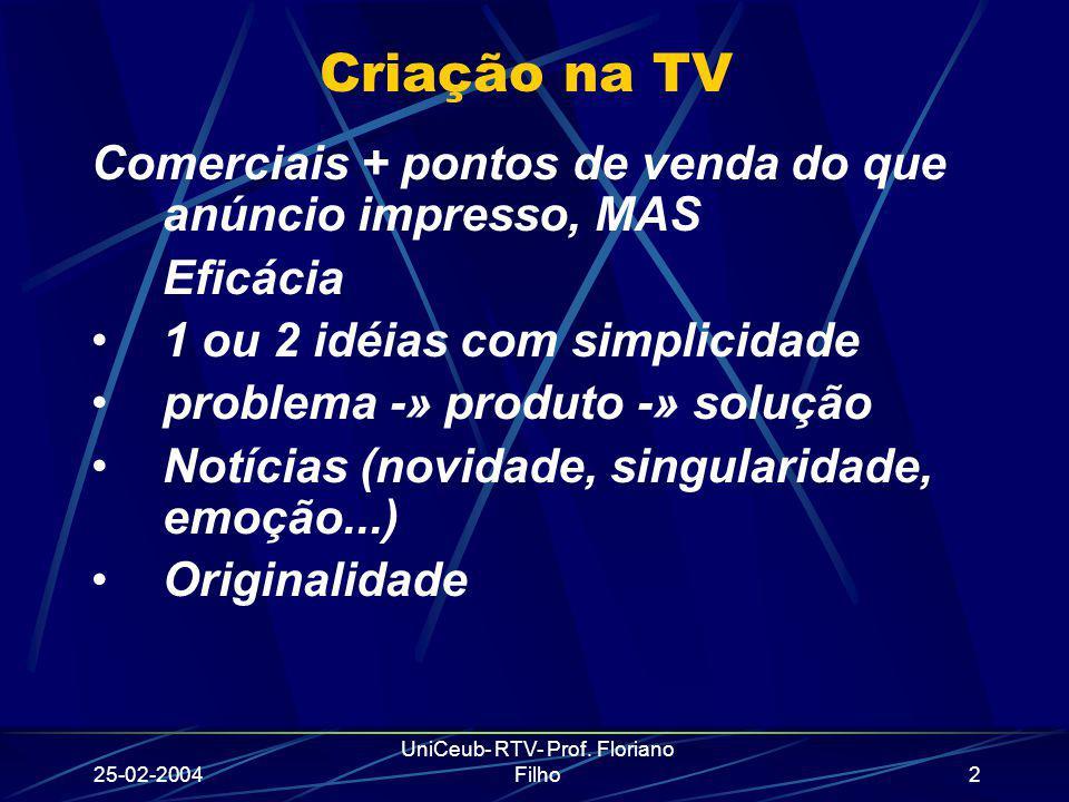25-02-2004 UniCeub- RTV- Prof. Floriano Filho2 Criação na TV Comerciais + pontos de venda do que anúncio impresso, MAS Eficácia 1 ou 2 idéias com simp