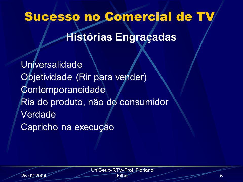 25-02-2004 UniCeub- RTV- Prof. Floriano Filho5 Sucesso no Comercial de TV Histórias Engraçadas Universalidade Objetividade (Rir para vender) Contempor