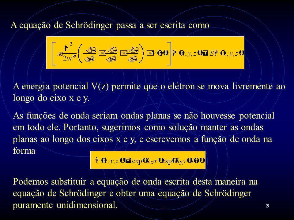 3 A equação de Schrödinger passa a ser escrita como A energia potencial V(z) permite que o elétron se mova livremente ao longo do eixo x e y.