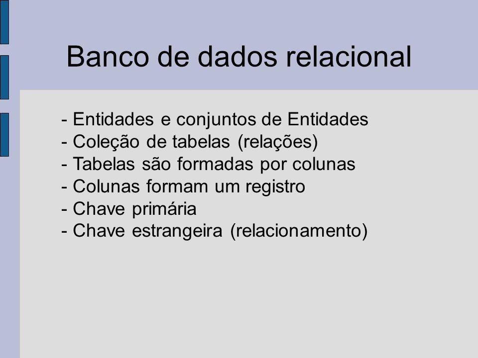 Banco de dados relacional - Entidades e conjuntos de Entidades - Coleção de tabelas (relações) - Tabelas são formadas por colunas - Colunas formam um