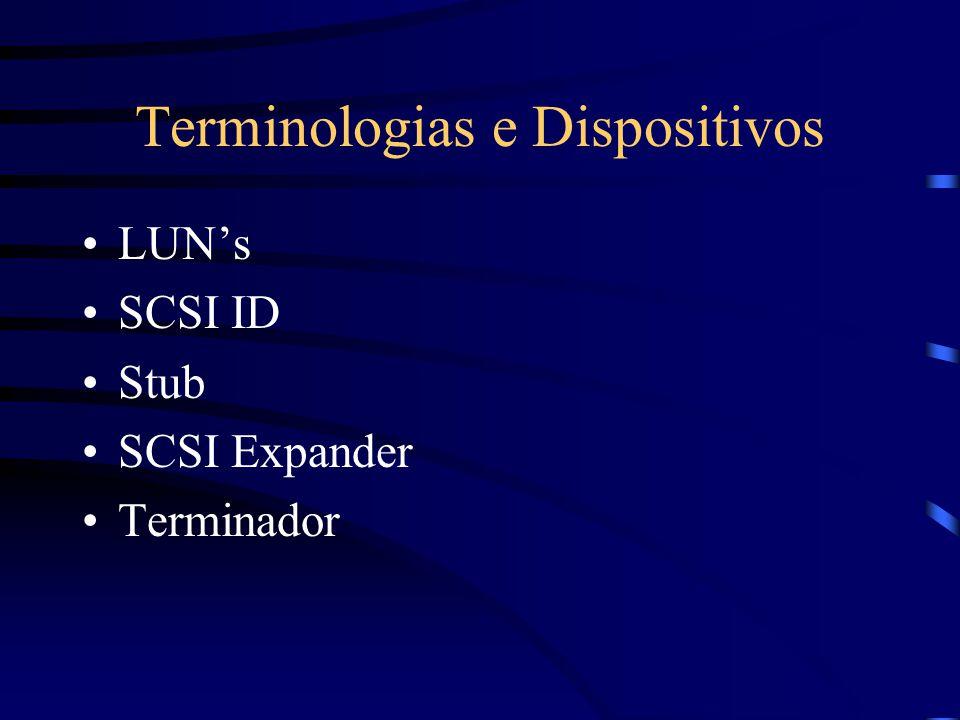 SCSI Assíncrono –Quanto maior o cabo menor Taxa de Transferência –Sempre utilizado na fase de Negociação Síncrono –O envio de dados é feito sem a nece