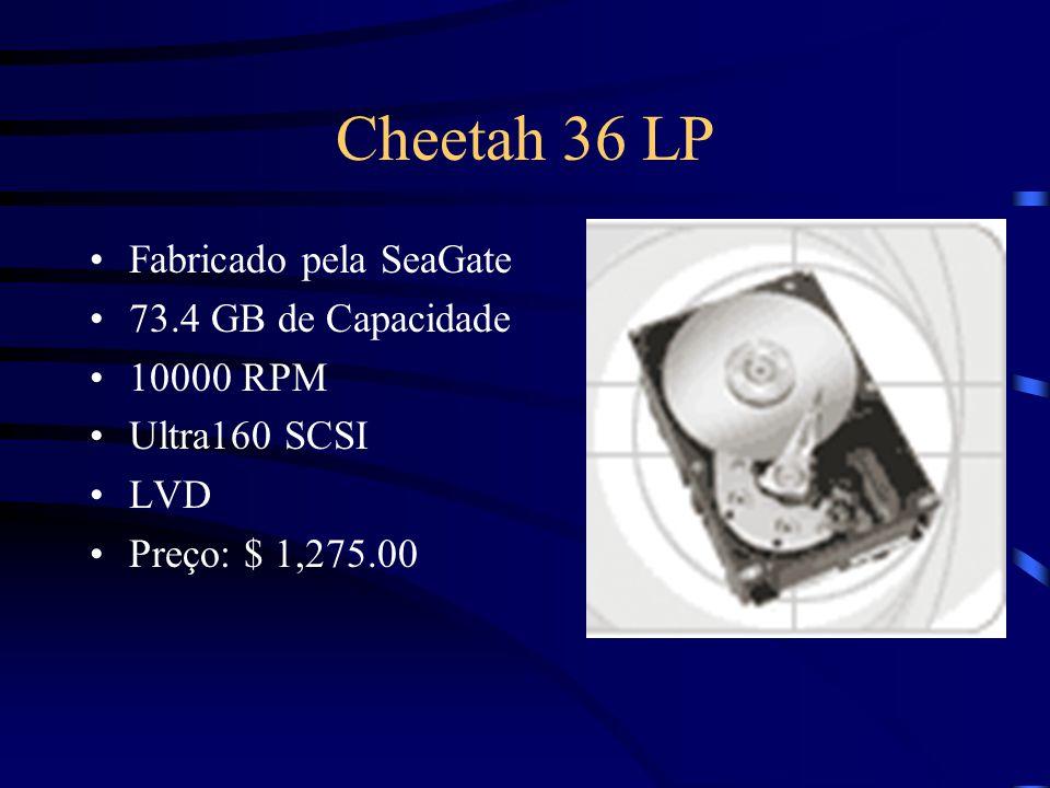 Cheetah 18 XL Fabricado pela SeaGate 18.4 GB de Capacidade 10000 RPM LVD Ultra160 SCSI Preço: $ 449.00