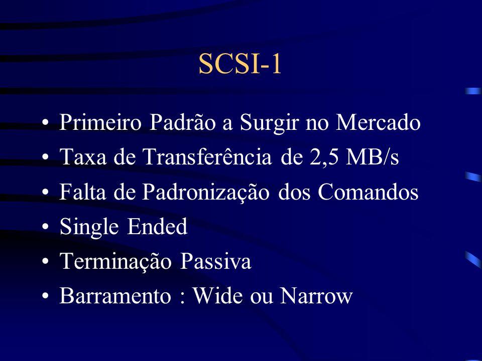SCSI-1 Primeiro Padrão a Surgir no Mercado Taxa de Transferência de 2,5 MB/s Falta de Padronização dos Comandos Single Ended Terminação Passiva Barramento : Wide ou Narrow