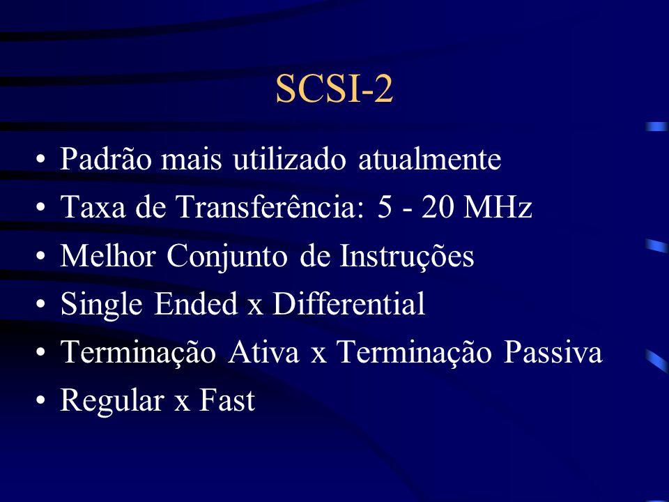 SCSI-2 Padrão mais utilizado atualmente Taxa de Transferência: 5 - 20 MHz Melhor Conjunto de Instruções Single Ended x Differential Terminação Ativa x Terminação Passiva Regular x Fast