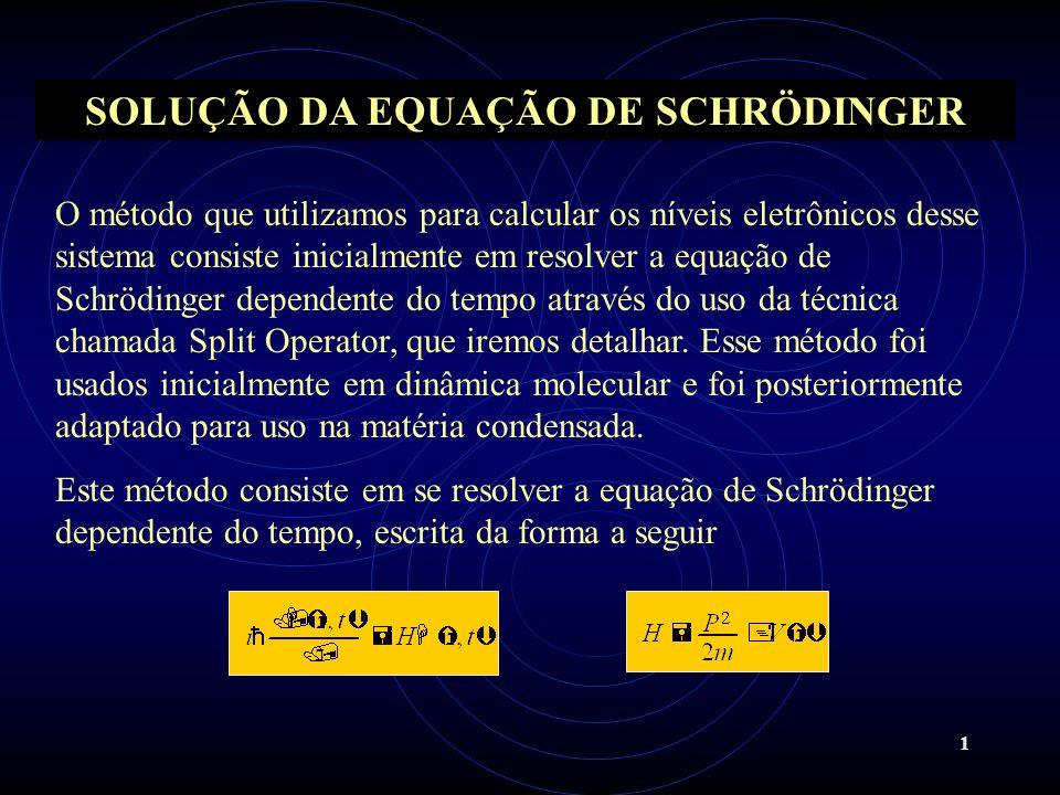 1 SOLUÇÃO DA EQUAÇÃO DE SCHRÖDINGER O método que utilizamos para calcular os níveis eletrônicos desse sistema consiste inicialmente em resolver a equa