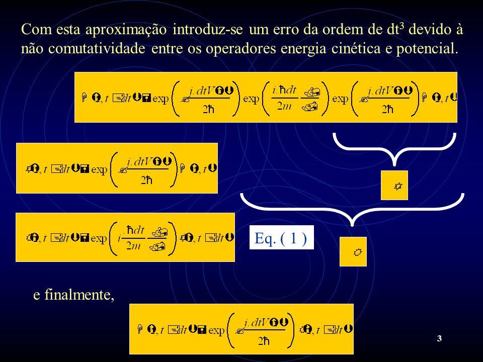 3 Com esta aproximação introduz-se um erro da ordem de dt 3 devido à não comutatividade entre os operadores energia cinética e potencial. e finalmente