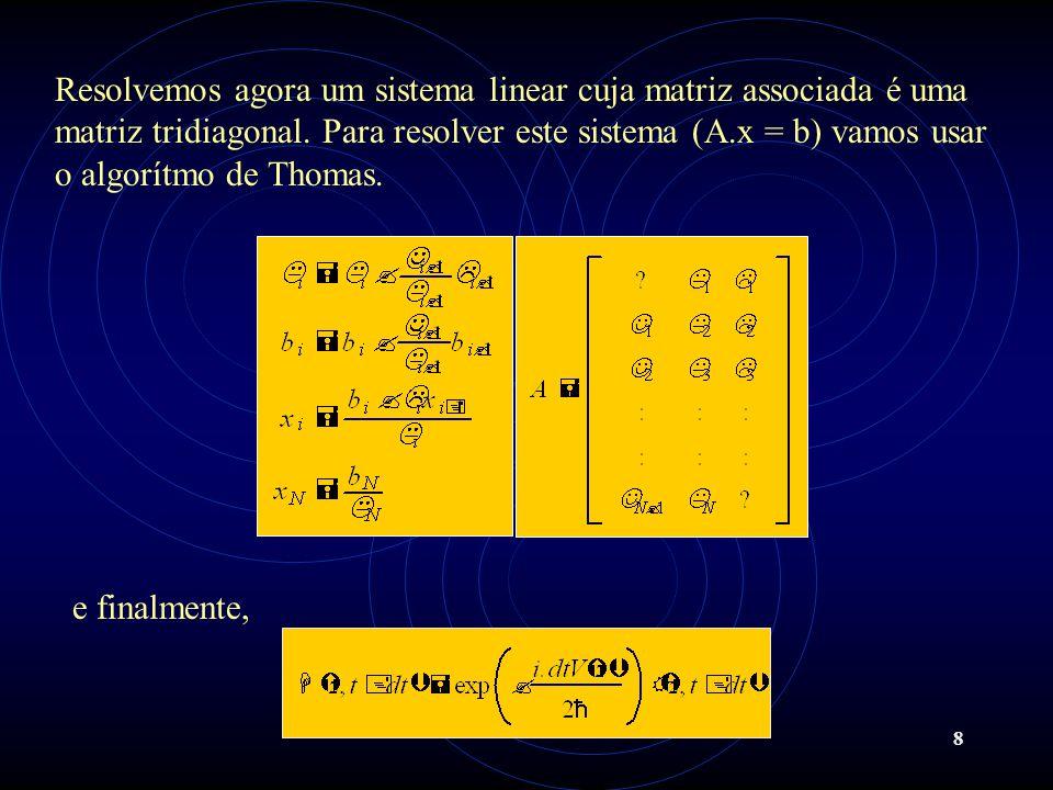 8 Resolvemos agora um sistema linear cuja matriz associada é uma matriz tridiagonal. Para resolver este sistema (A.x = b) vamos usar o algorítmo de Th