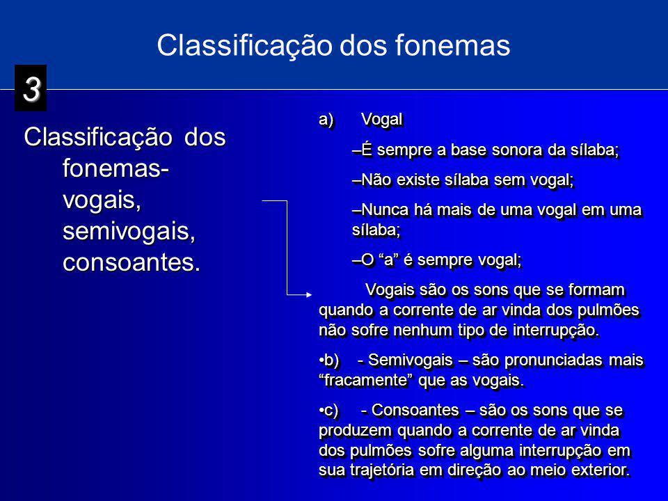Classificação dos fonemas Classificação dos fonemas- vogais, semivogais, consoantes. a) Vogal –É sempre a base sonora da sílaba; –Não existe sílaba se