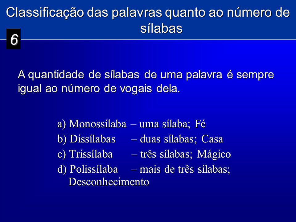 Classificação das palavras quanto ao número de sílabas a) Monossílaba – uma sílaba; Fé b) Dissílabas – duas sílabas; Casa c) Trissílaba – três sílabas