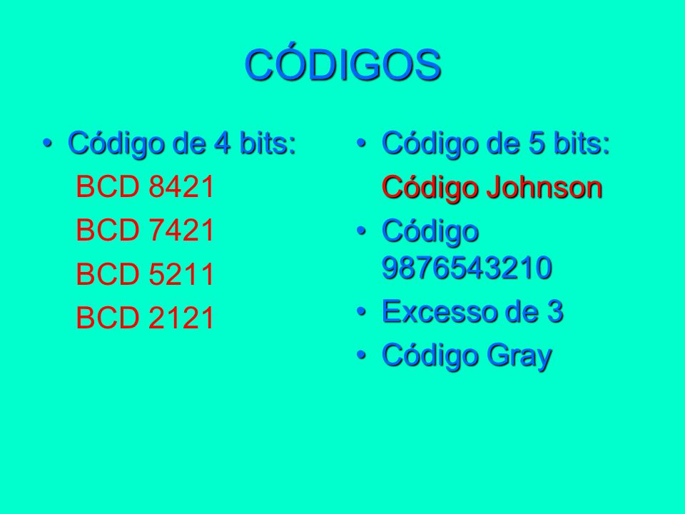 CÓDIGOS Código de 4 bits:Código de 4 bits: BCD 8421 BCD 7421 BCD 5211 BCD 2121 Código de 5 bits:Código de 5 bits: Código Johnson Código 9876543210Códi