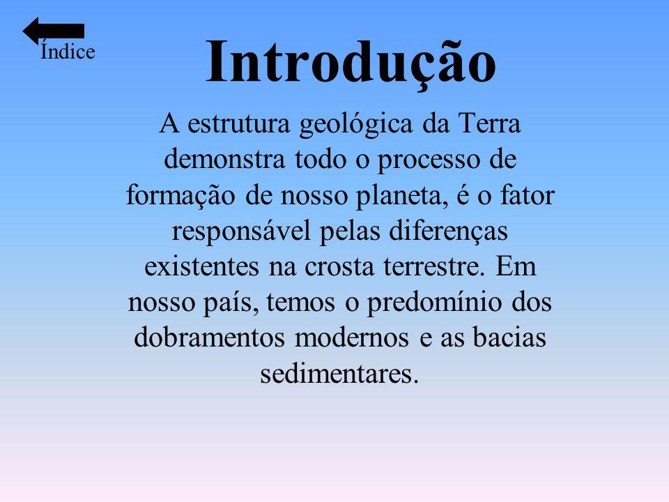 Introdução A estrutura geológica da Terra demonstra todo o processo de formação de nosso planeta, é o fator responsável pelas diferenças existentes na