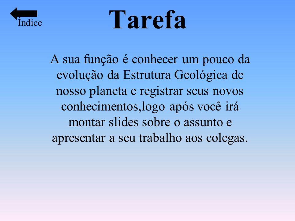 Tarefa A sua função é conhecer um pouco da evolução da Estrutura Geológica de nosso planeta e registrar seus novos conhecimentos,logo após você irá mo