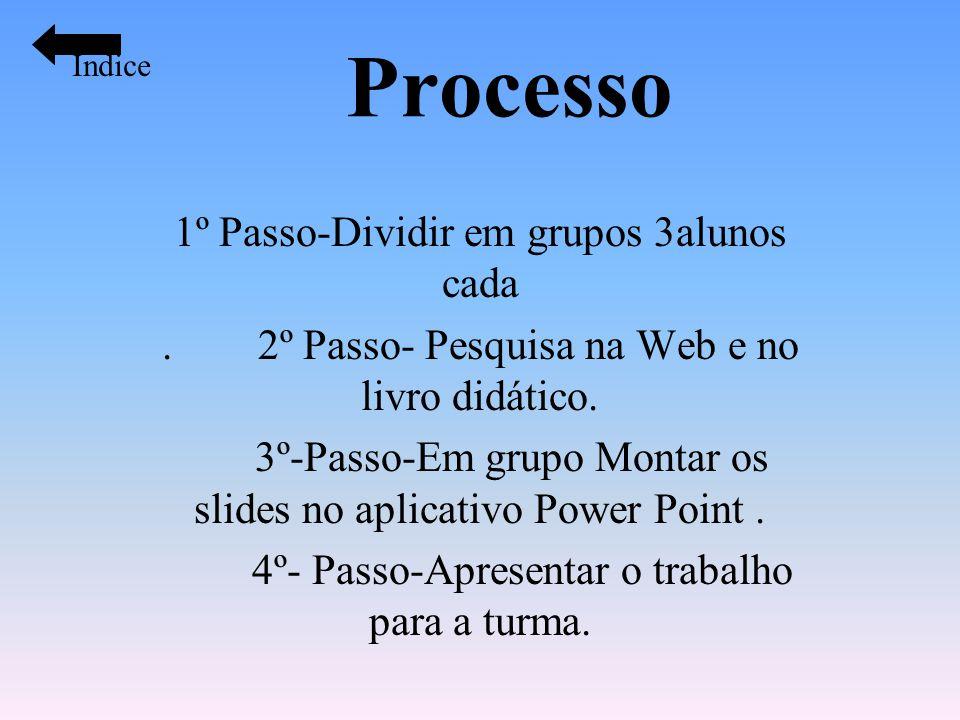 Processo 1º Passo-Dividir em grupos 3alunos cada. 2º Passo- Pesquisa na Web e no livro didático. 3º-Passo-Em grupo Montar os slides no aplicativo Powe