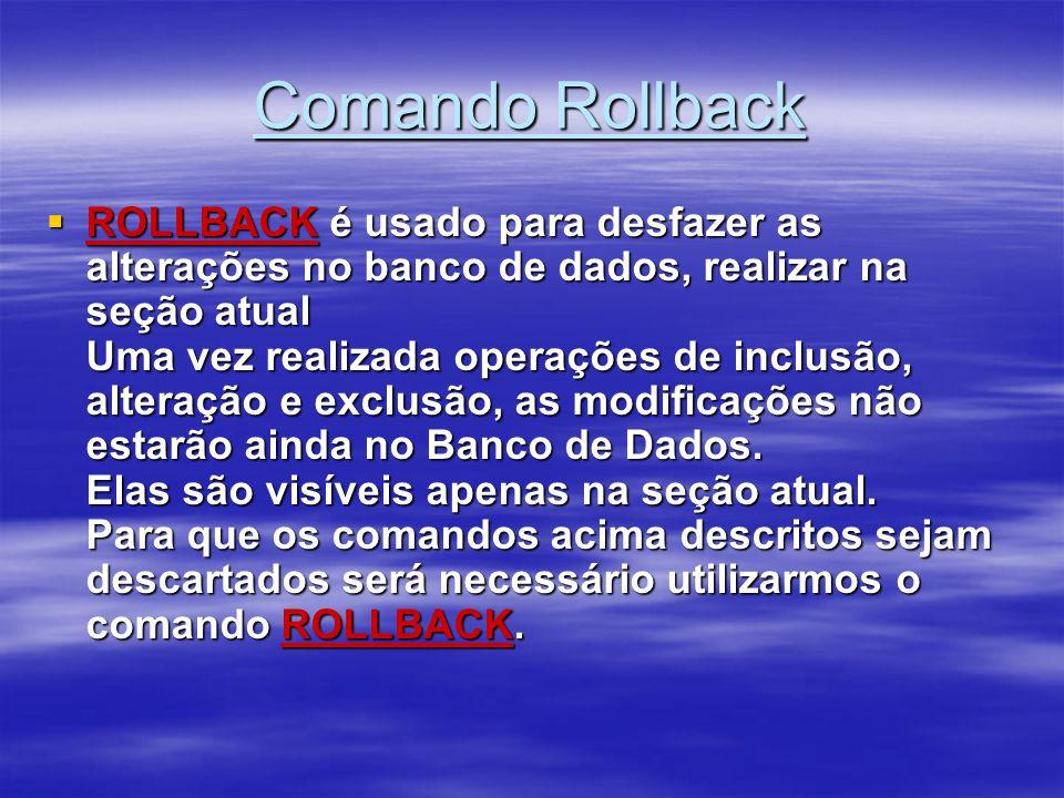 Comando Rollback ROLLBACK é usado para desfazer as alterações no banco de dados, realizar na seção atual Uma vez realizada operações de inclusão, alte
