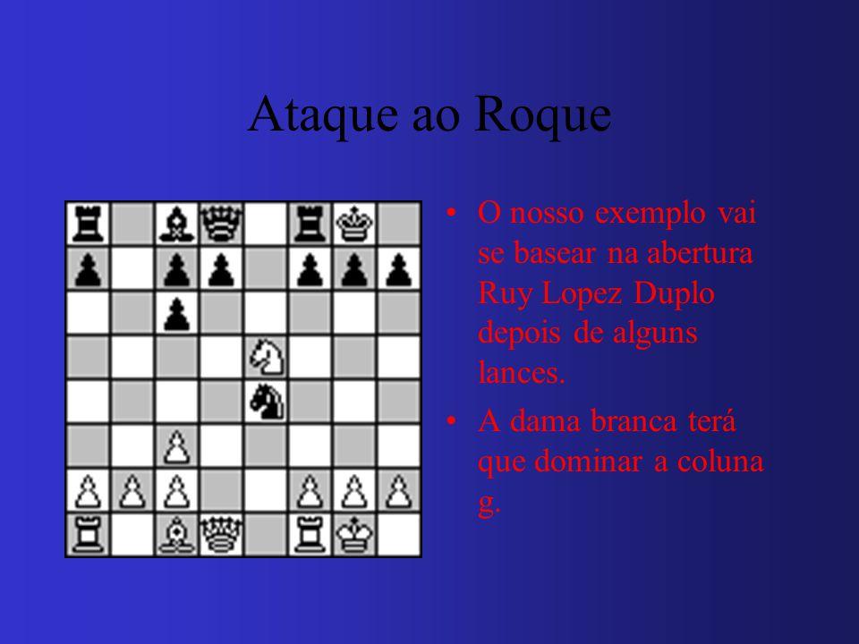 Ataque ao Roque O nosso exemplo vai se basear na abertura Ruy Lopez Duplo depois de alguns lances. A dama branca terá que dominar a coluna g.