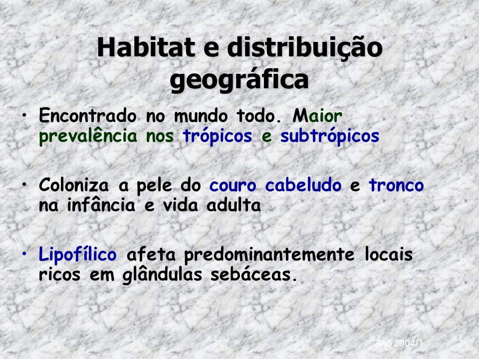 Ano 2004/1 Habitat e distribuição geográfica Encontrado no mundo todo. Maior prevalência nos trópicos e subtrópicos Coloniza a pele do couro cabeludo