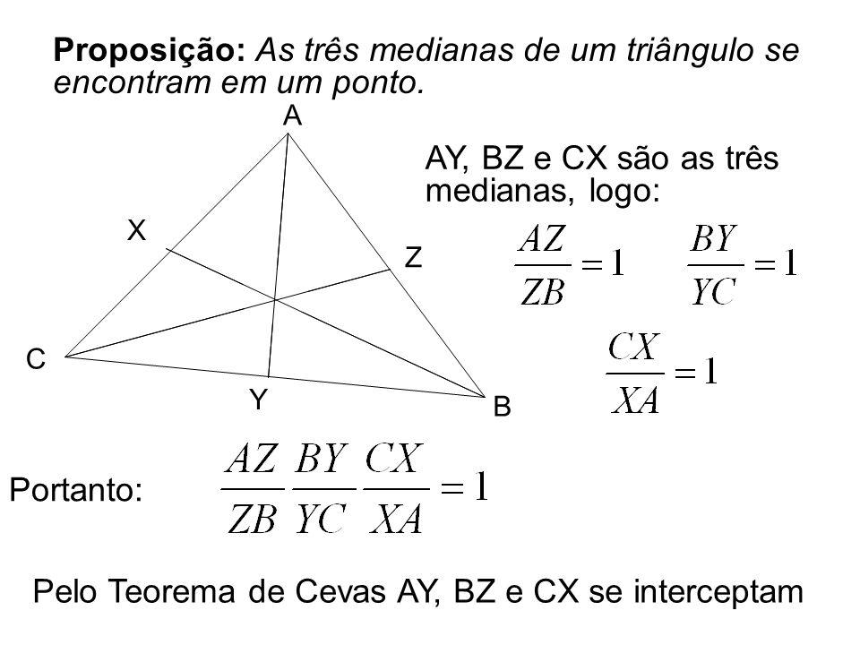 Proposição: As três medianas de um triângulo se encontram em um ponto. A B C X Y Z AY, BZ e CX são as três medianas, logo: Portanto: Pelo Teorema de C