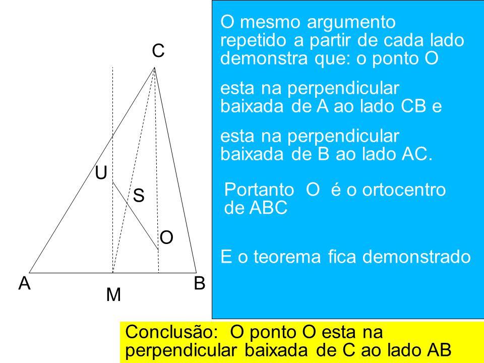 AB C M U S O M = ponto médio de AB U = circuncentro de ABC MU é perpendicular a AB S = Baricentro de ABC Prolongue US até o ponto O de modo que SO = 2