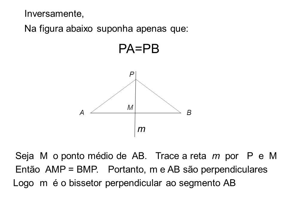 .. A B P Inversamente, Na figura abaixo suponha apenas que: PA=PB Seja M o ponto médio de AB. M Trace a reta m por P e M m Então AMP = BMP.Portanto, m