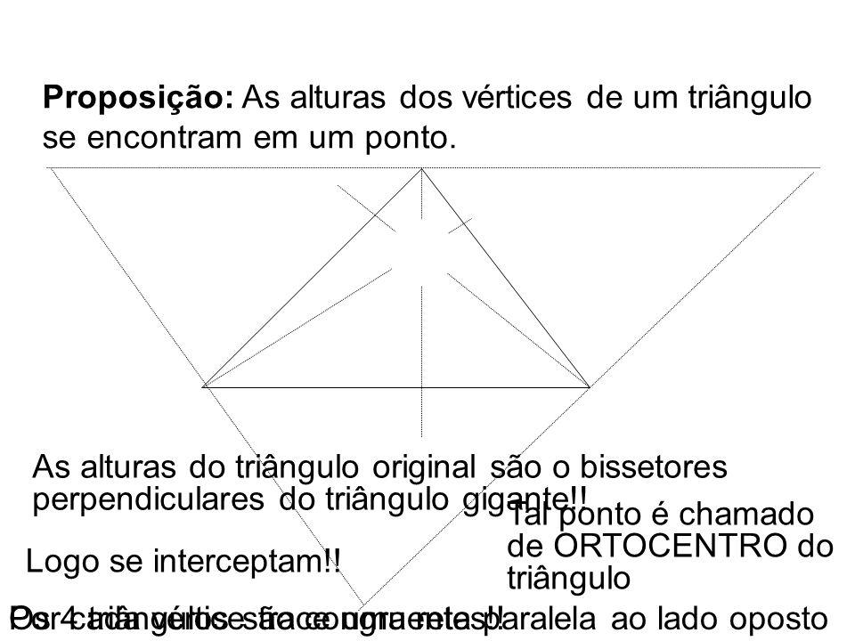 Trace as 3 alturas do triângulo Proposição: As alturas dos vértices de um triângulo se encontram em um ponto. Por cada vértice trace uma reta paralela
