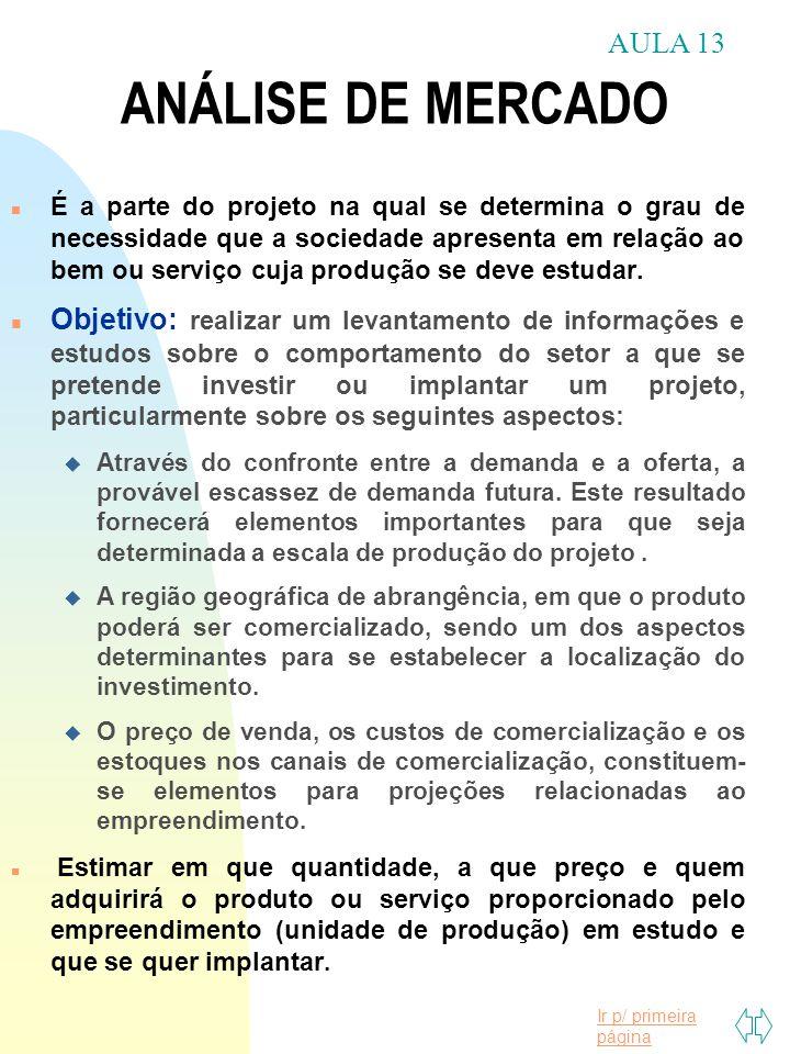 Ir p/ primeira página n É a parte do projeto na qual se determina o grau de necessidade que a sociedade apresenta em relação ao bem ou serviço cuja pr