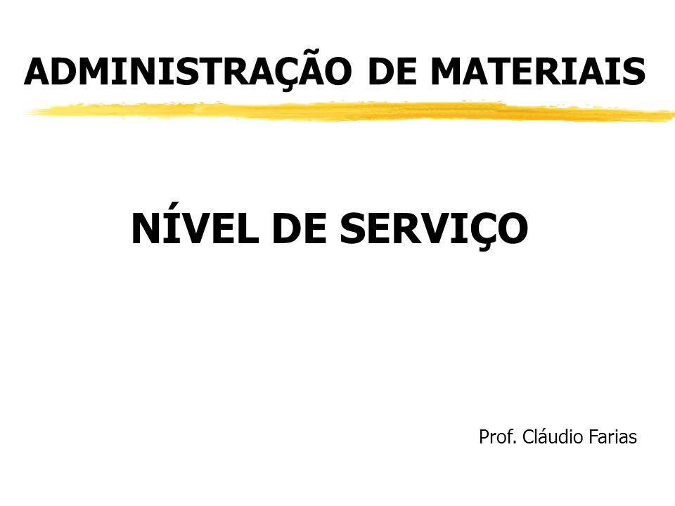 ADMINISTRAÇÃO DE MATERIAIS NÍVEL DE SERVIÇO Prof. Cláudio Farias