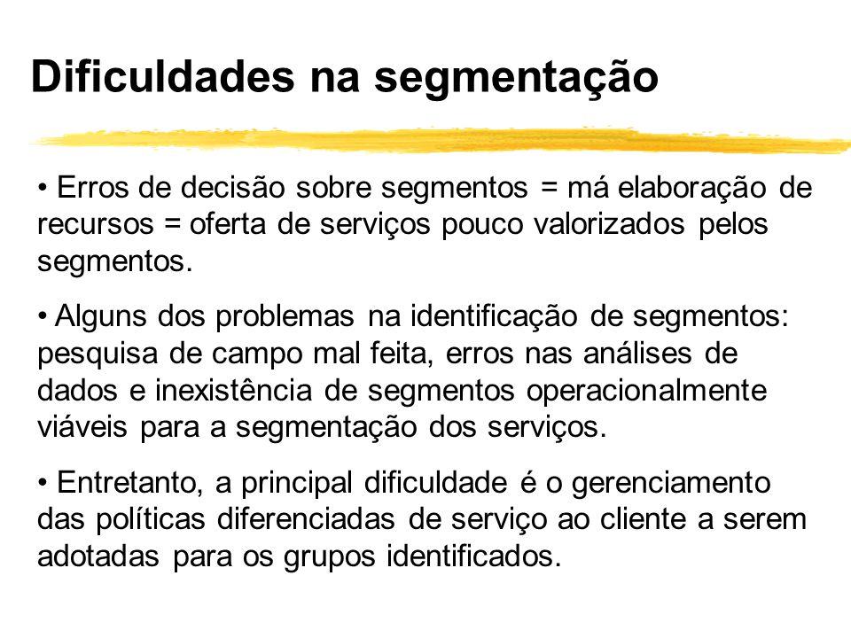 Erros de decisão sobre segmentos = má elaboração de recursos = oferta de serviços pouco valorizados pelos segmentos. Alguns dos problemas na identific