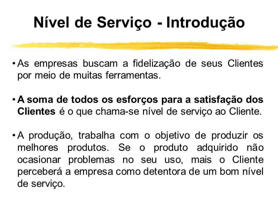 Nível de Serviço - Introdução As empresas buscam a fidelização de seus Clientes por meio de muitas ferramentas. A soma de todos os esforços para a sat