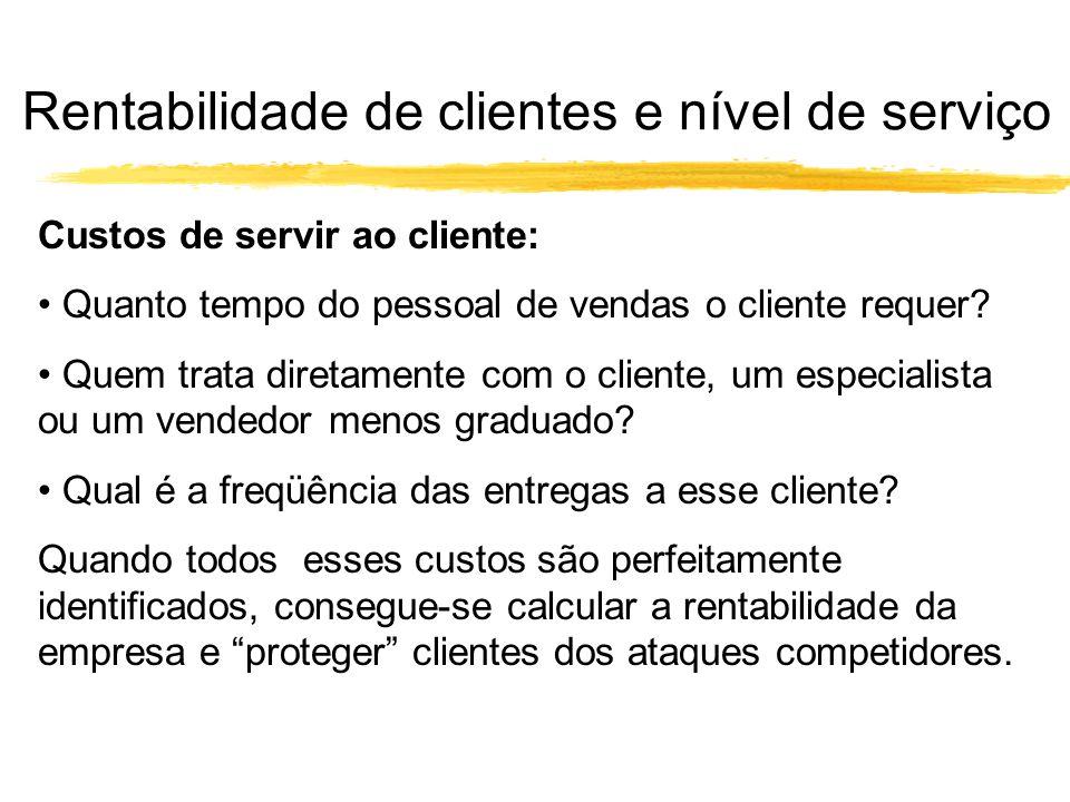 Custos de servir ao cliente: Quanto tempo do pessoal de vendas o cliente requer? Quem trata diretamente com o cliente, um especialista ou um vendedor