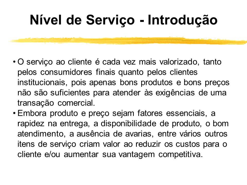 Nível de Serviço - Introdução O serviço ao cliente é cada vez mais valorizado, tanto pelos consumidores finais quanto pelos clientes institucionais, p